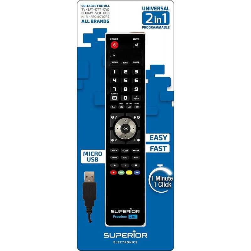 Telecomando SUPERIOR FREEDOM Universale TV-SAT-DVD-BLURAY-DTT-HDD-HIFI-PROJECTORS