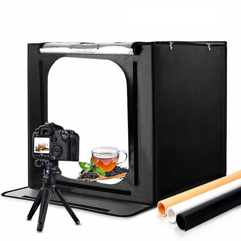 PhotoBox con Pannelli LED e Sfondi Inclusi (60x60)