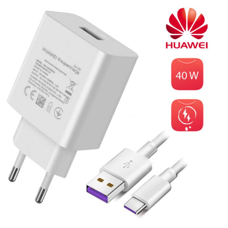 HUAWEI Caricatore 40W Ricarica Rapida + Cavo USB-C - Bianco